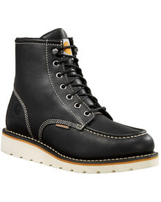 Carhartt Women's Black Wedge Sole Waterproof Work Boots - Soft Toe, Black, hi-res