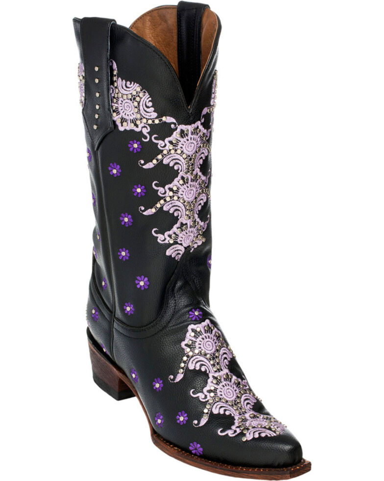 Ferrini Black Country Lace Cowgirl Boots - Snip Toe, Black, hi-res