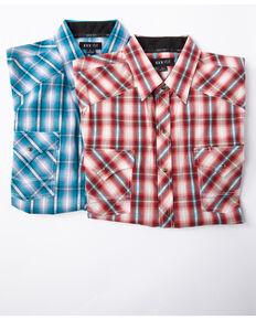 Ely Cattleman Men's Assorted 1878 Aztec Dobby Plaid Short Sleeve Western Shirt , Multi, hi-res
