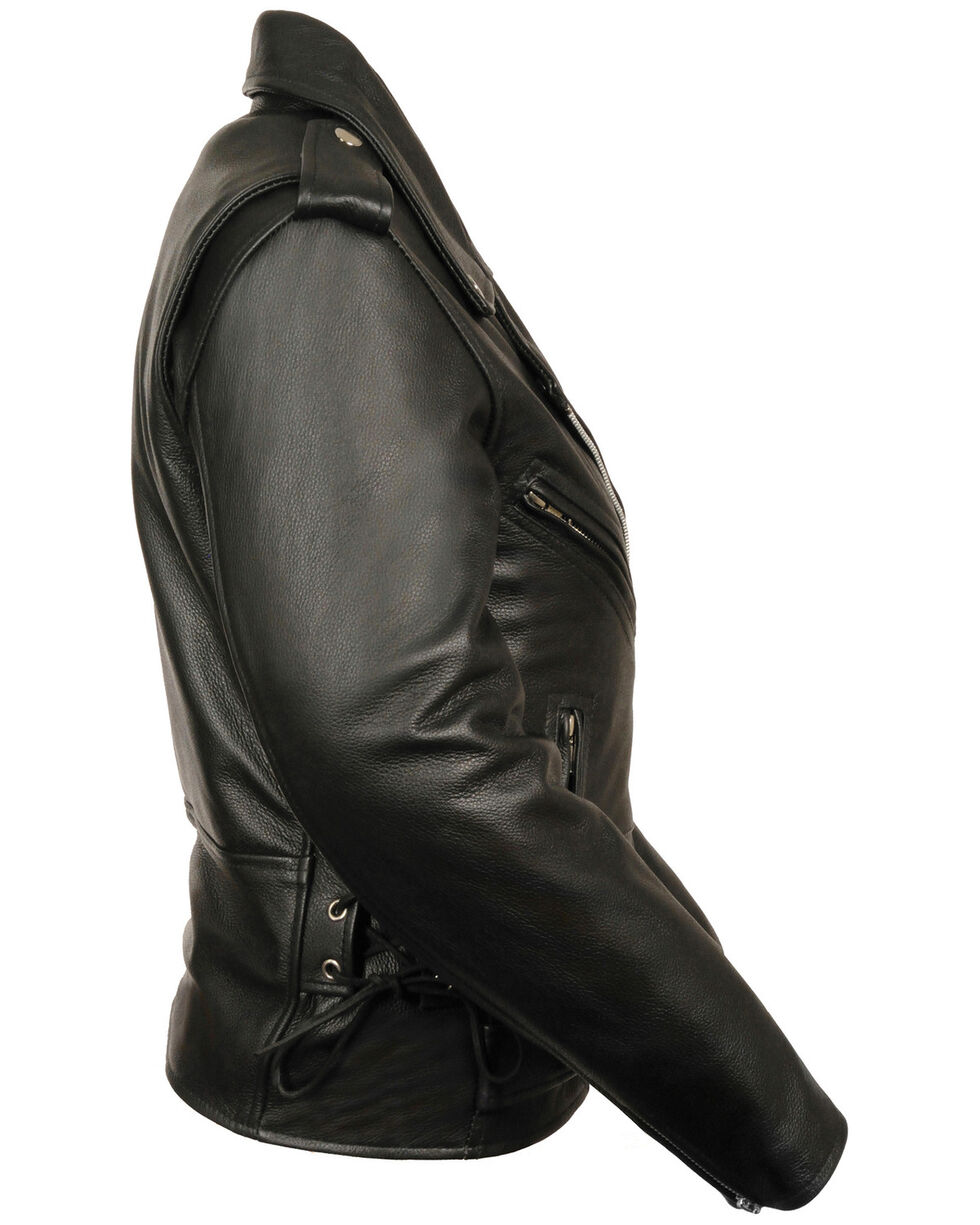 Milwaukee Leather Women's Full Length Side Lace Leather Motorcycle Jacket - 3X, Black, hi-res