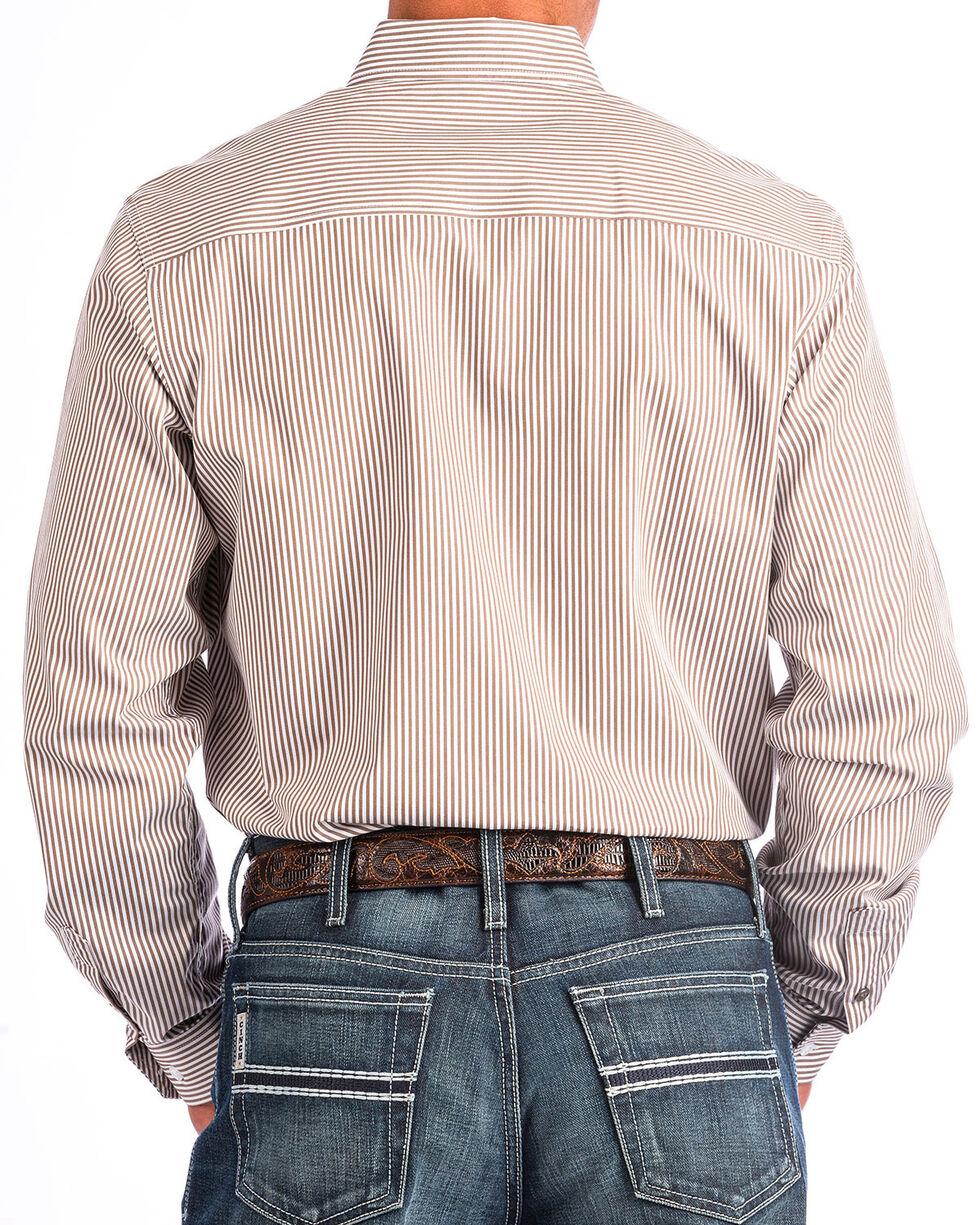 Cinch Men's Modern Fit Striped Long Sleeve Button Down Shirt , Beige/khaki, hi-res
