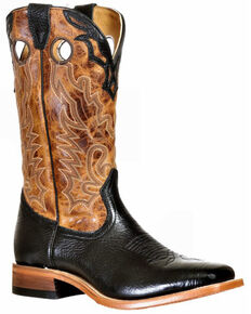 Boulet Men's Lone Star Western Boots - Wide Square Toe, Black, hi-res