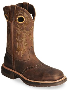 Rocky Men's Original Ride Western Work Boots - Steel Toe, Brown, hi-res