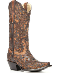 Corral Women's Brown Full Overlay Boots - Snip Toe , Brown, hi-res