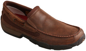 Twisted X Men's Brown Slip-On Driving Mocs , Brown, hi-res