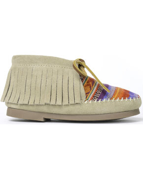 Minnetonka Girls' Frisco Serape Fringe Moccasins, Natural, hi-res