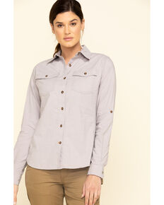 Carhartt Women's Grey Rugged Flex Bozeman Work Shirt  , Grey, hi-res