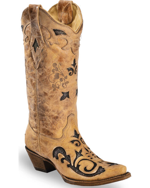Corral Women's Snake Inlay Cowgirl Boots - Snip Toe, Sand, hi-res