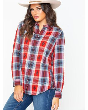 Ariat Women's Etna Madder Dobby Plaid Flannel Shirt , Red, hi-res