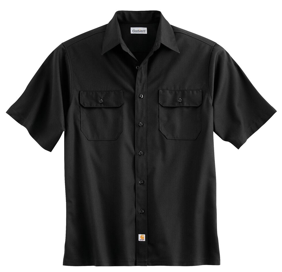 Carhartt Twill Work Short Sleeve Work Shirt, Black, hi-res