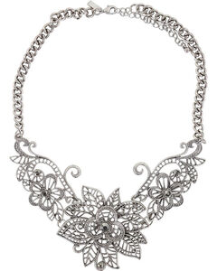 Shyanne Women's Floral Necklace, Silver, hi-res