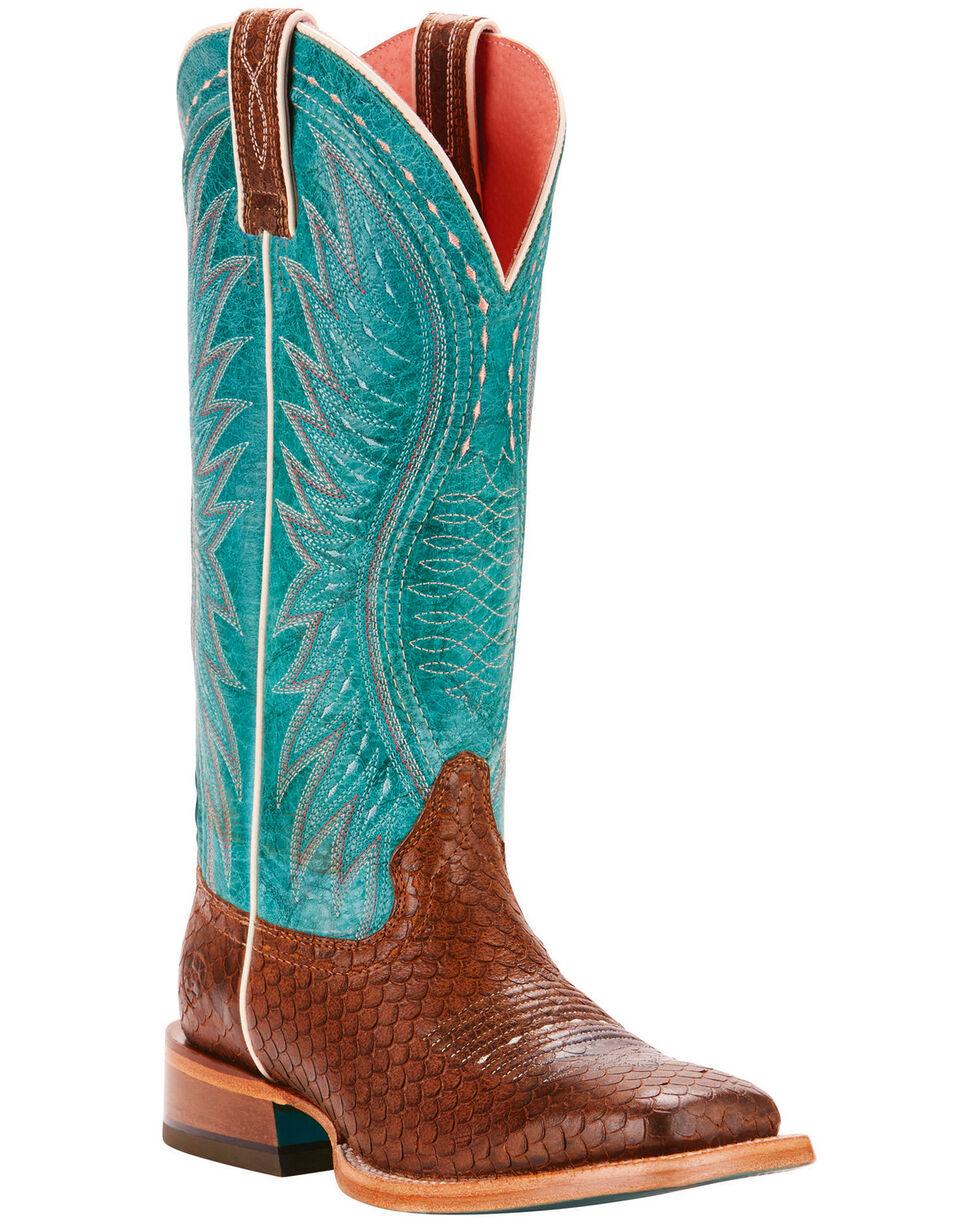 Ariat Women's Vaquera Diamondback Tan Performance Cowgirl Boots - Square Toe, Tan, hi-res