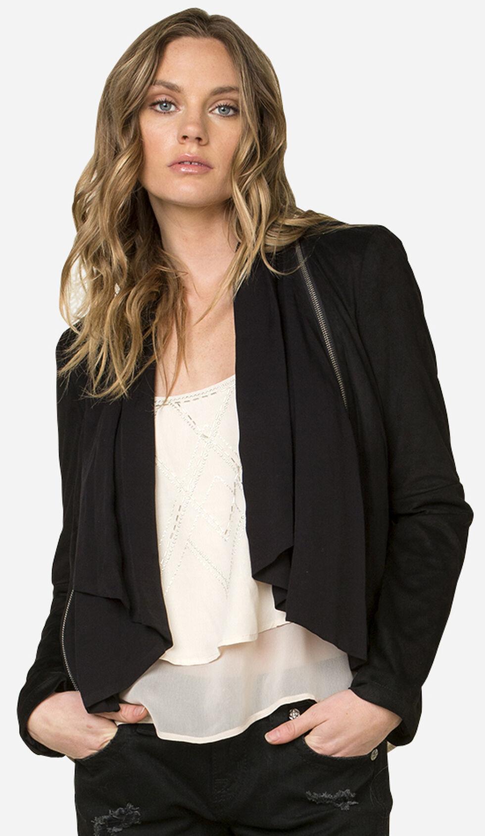 Miss Me Black Zip Detail Moto Jacket , Black, hi-res