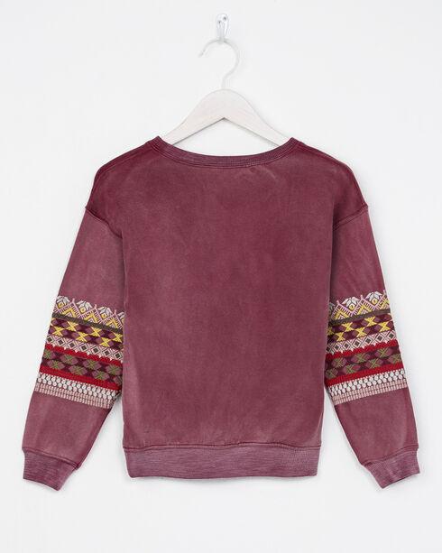 Miss Me Girls' Long Sleeve Embroidered Sweatshirt, Wine, hi-res
