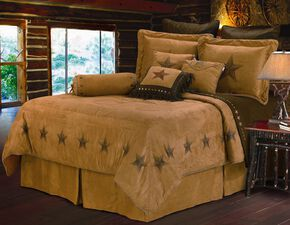HiEnd Accents Luxury Star Twin Size Bedding Set, Tan, hi-res