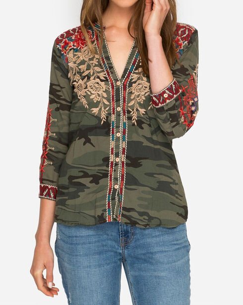 Johnny Was Women's Veronica Embroidered Camo Button Down Shirt, Camouflage, hi-res