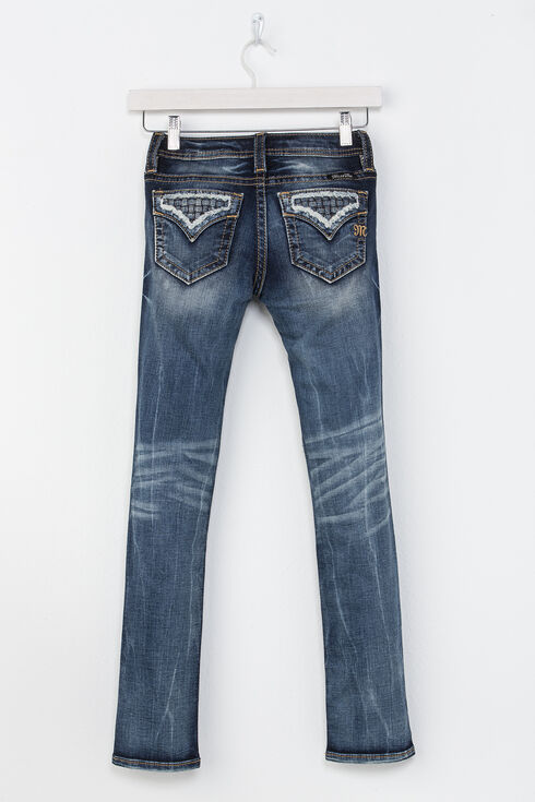 Miss Me Girls' Indigo Rogue Distressed Pocket Jeans - Skinny , Indigo, hi-res