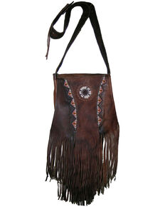 Kobler Leather Women's Brown Beaded Shoulder Bag, Dark Brown, hi-res