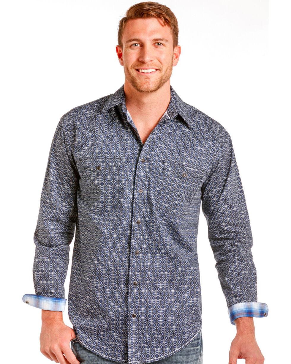 Rough Stock by Panhandle Men's Navy Geo Print Long Sleeve Shirt, Navy, hi-res