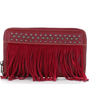 Shyanne Women's Studded Fringe Wallet, Red, hi-res