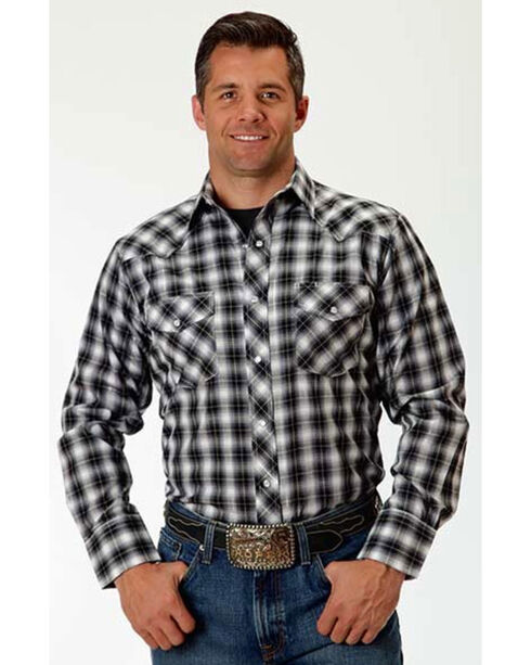 Roper Men's Silver Mine Plaid Long Sleeve Snap Shirt, Grey, hi-res