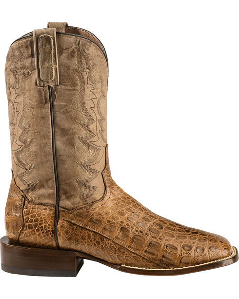 Dan Post Caiman Foot Leather Cowboy Boots - Square Toe, Bay Apache, hi-res