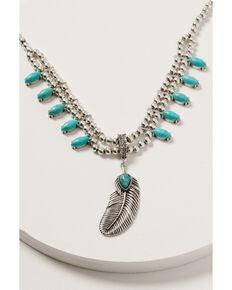 Shyanne Women's Wild Soul Feather Tassel Necklace, Silver, hi-res