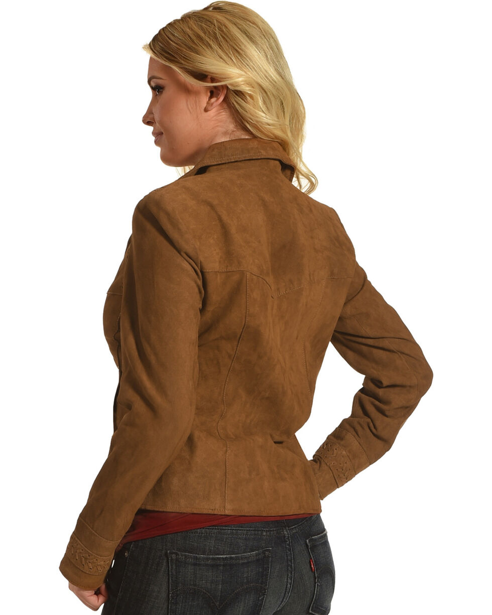 Scully Women's Brown Leather Sueded Blazer , Brown, hi-res
