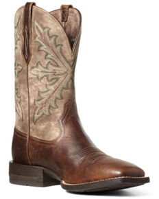 Ariat Men's Qualifier Western Boots - Square Toe, Brown, hi-res