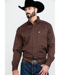Ariat Men's Adkison Stretch Geo Print Long Sleeve Western Shirt , Chocolate, hi-res