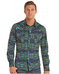 Rock & Roll Denim Men's Crinkle Washed Aztec Long Sleeve Snap Shirt, Teal, hi-res