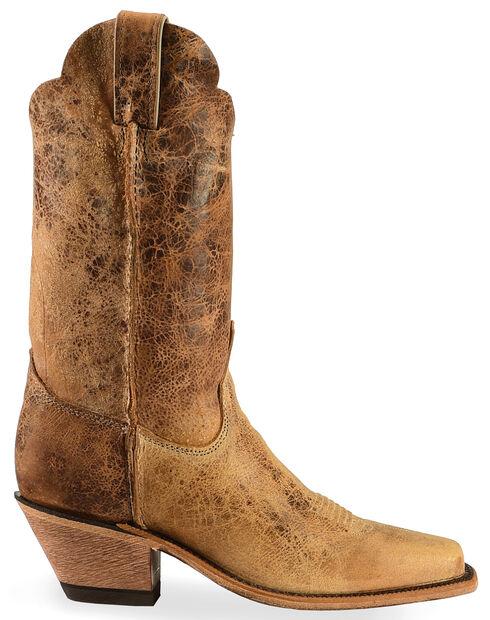 Justin Bent Rail Crackle Cowgirl Boots - Square Toe, Tan Distressed, hi-res