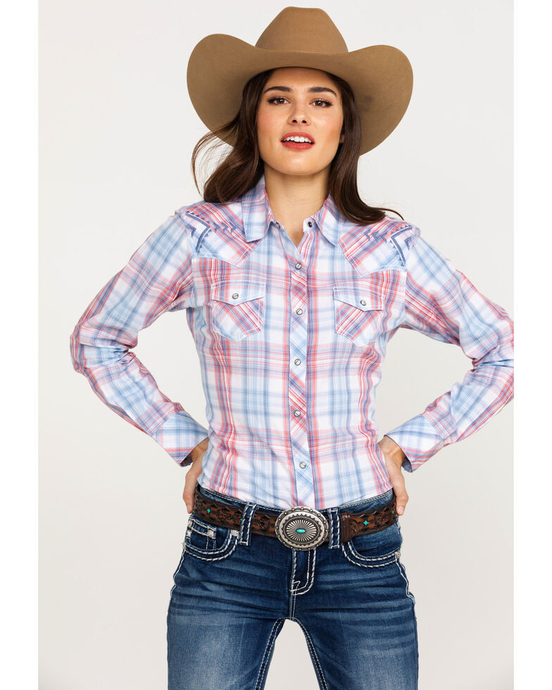 e7a05836 Zoomed Image Ariat Women's REAL Lovely Plaid Long Sleeve Western Shirt ,  Multi, hi-res