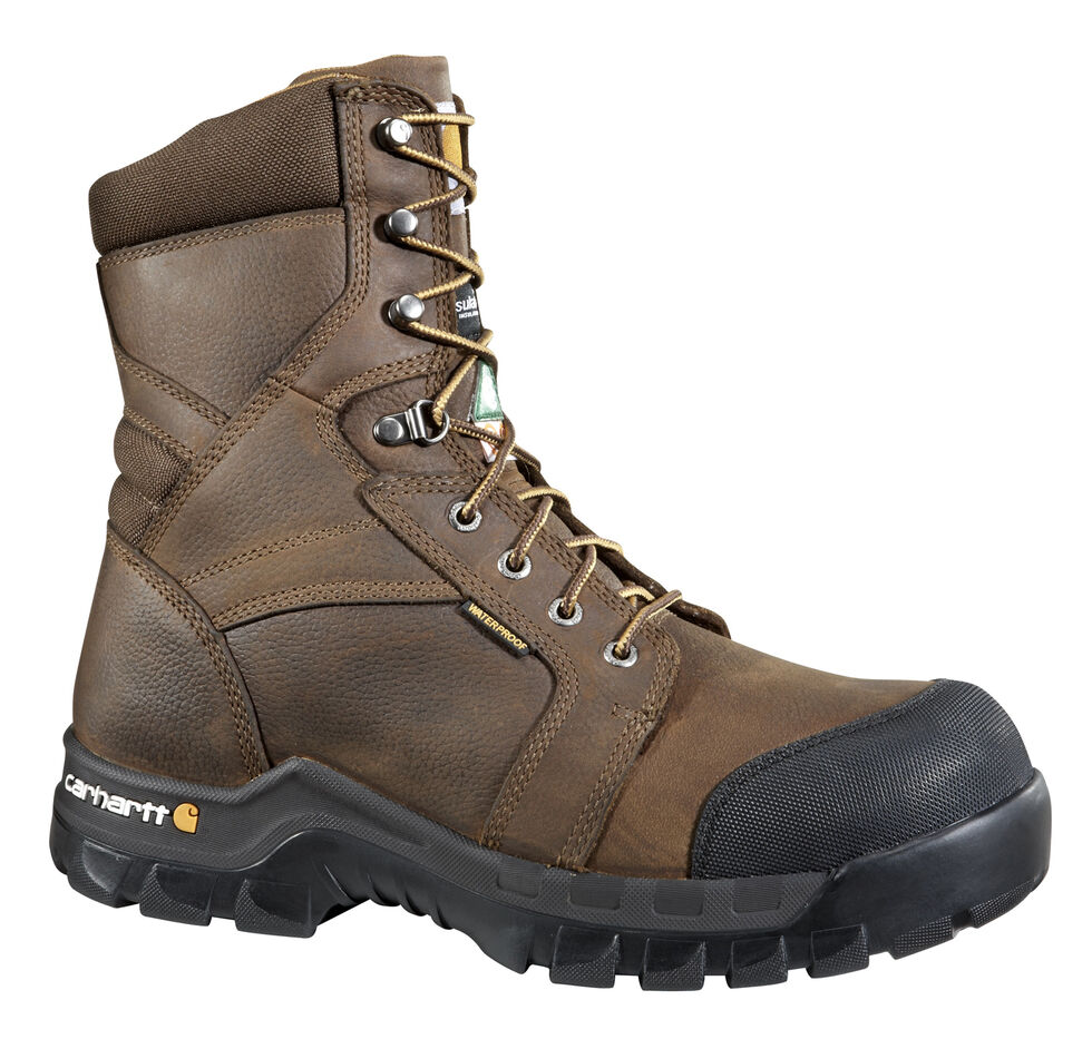 "Carhartt Men's 8"" Rugged Flex Waterproof Insulated Composite Toe Work Boots - Composite Toe, Brown, hi-res"