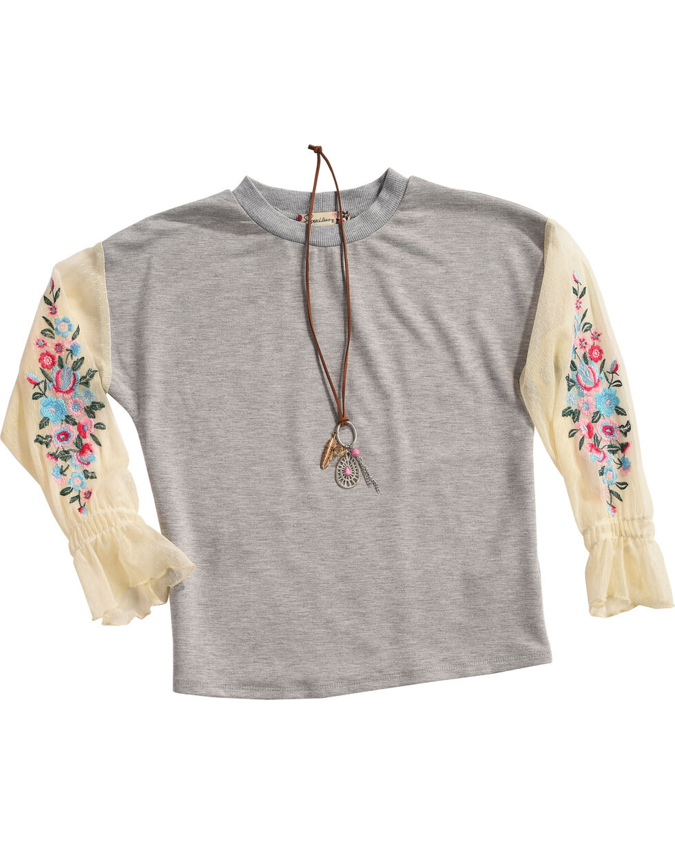 Speechless Girls' Chiffon Embroidered Knit Top With Necklace, Grey, hi-res
