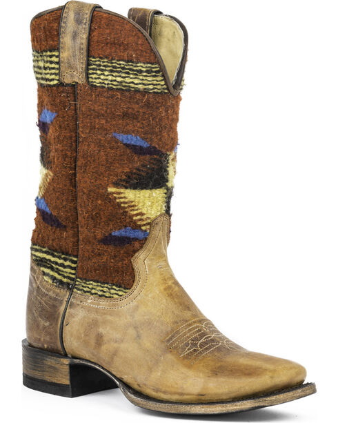 Stetson Roxanne Brown Serape Cowgirl Boots - Square Toe, Brown, hi-res