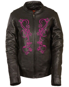 Milwaukee Leather Women's Reflective Star Jacket - 4X, Pink/black, hi-res