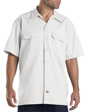 Dickies Short Sleeve Twill Work Shirt - Big & Tall-Folded, White, hi-res