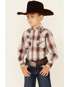 Ely Walker Boys' Beige & Khaki Plaid Long Sleeve Snap Western Shirt , Beige/khaki, hi-res