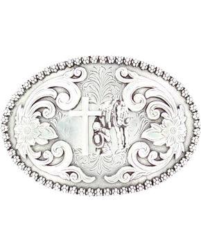 Nocona Floral Etched Praying Cowboy Belt Buckle, Silver, hi-res