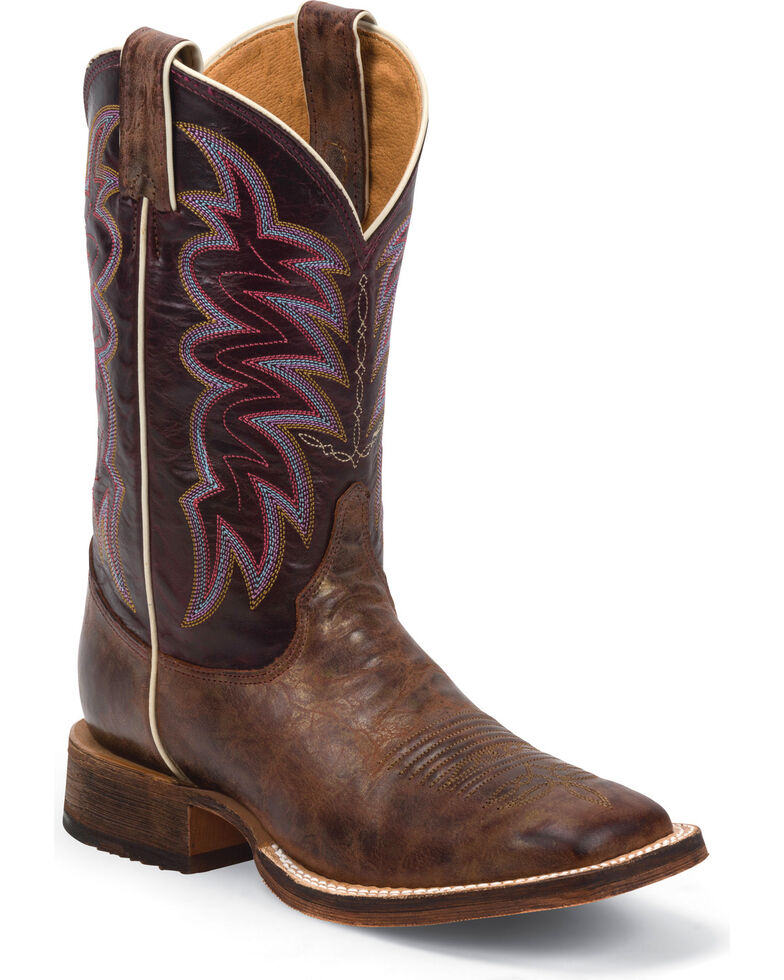 Justin Bent Rail Women's Yancey Burgundy Cowgirl Boots - Square Toe, Bronze, hi-res