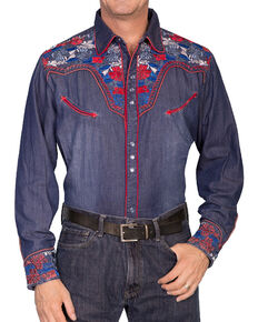 Scully Vibrant Floral Embroidered Retro Western Shirt, Indigo, hi-res