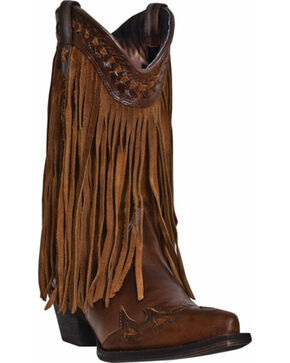 Dingo Heart Throb Fringe Cowgirl Boots - Snip Toe, Dark Brown, hi-res