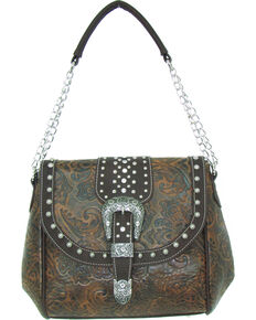 Savana Women's Faux Leather Tooled Handbag , Tan, hi-res