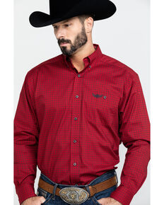 Ariat Men's Power Geo Print Long Sleeve Western Shirt , Red, hi-res