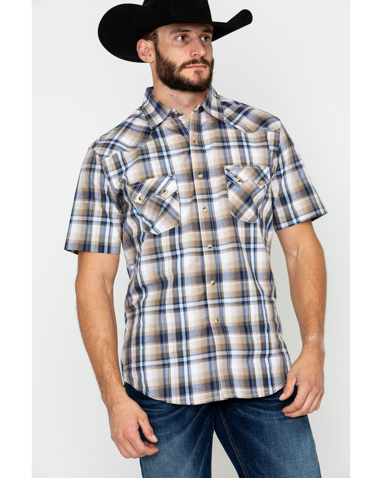 8133a968 Wrangler Retro Men's Plaid Short Sleeve Western Shirt, Brown/blue, hi-res