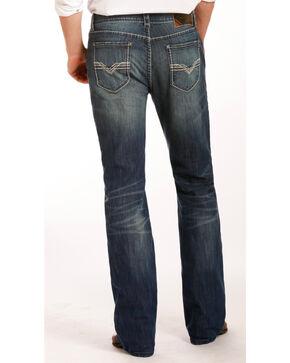 Rock & Roll Cowboy Men's Indigo Zig Zag Embroidered Jeans - Boot Cut , Indigo, hi-res