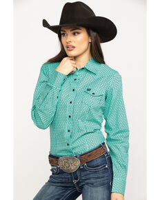 9825efd2 Cinch Womens Turquoise Snap Long Sleeve Western Shirt, Turquoise, hi-res