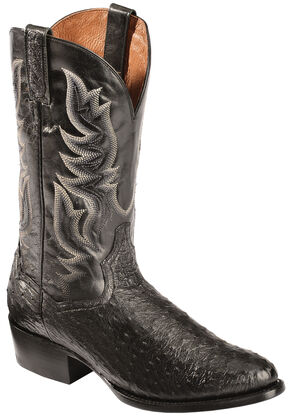 Dan Post Black Full Quill Ostrich Cowboy Boots - Round Toe, Black, hi-res