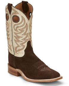 Justin Men's Clinton Chocolate Western Boots - Wide Square Toe, Chocolate, hi-res